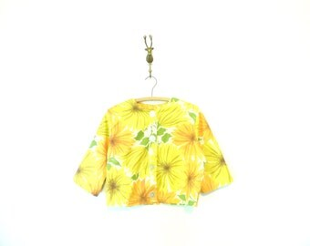 60s Vintage Yellow Floral Cropped Jacket / Top