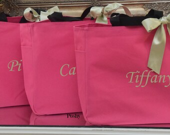 Monogrammed Bridesmaids tote bags MIX and MATCH colors *SET of 10*