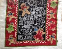 Chalkboard Gingerbread Recipe Crocheted Top Towel  (C2)