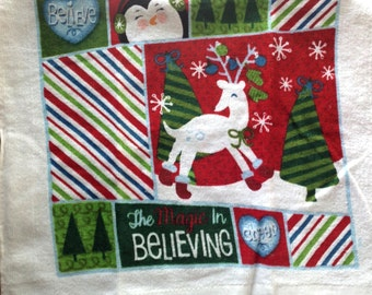 The Magic in Believing Reindeer Crocheted Top Towel  (C17)