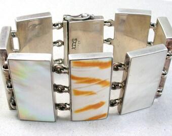 Vintage EXEX Claudia Agudelo Sterling Panel Bracelet Signed