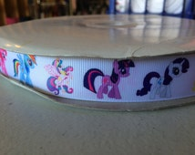 "7/8"" new printed grosgrain ribbon 5 yards yds yd my little pony horse"