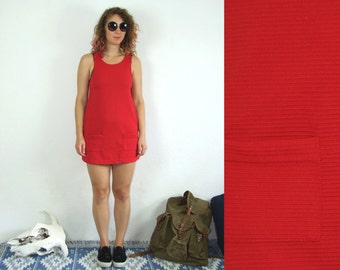 60's vintage women's retro mini red dress