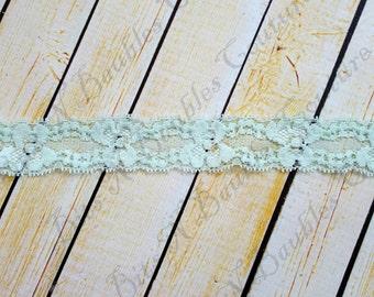 Mint lace elastic - headband supplies - lace hair ties - diy supplies - diy headband supplies