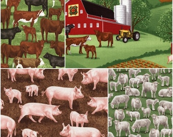 Farm Scenic, Cows, Sheep, & Pigs Cotton Fabric by Timeless Treasures! [Choose Your Cut Size]
