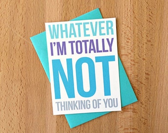 Not Thinking of You Note Card | Funny Sarcastic Boyfriend Girlfriend Husband Wife Snarky Spouse Best Friend BFF Casual Love Note Greeting