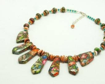 Mardi Gras Impression Jasper Necklace