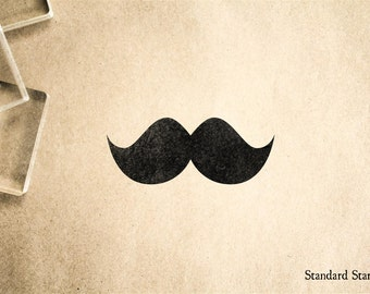 Stubby Mustache Rubber Stamp - 2 x 2 inches