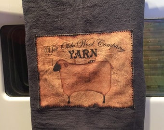 Prim sheep floursack tea towel