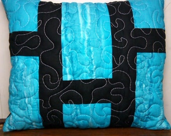 blue and black pillow cover with insert