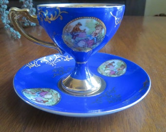Royal Vienna Cobalt and Gold Cup and Saucer