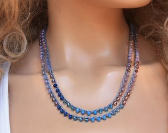 Blue  and Plum  Crocheted Necklace/Five Wrap Bracelet , Boho Chic Bracelet