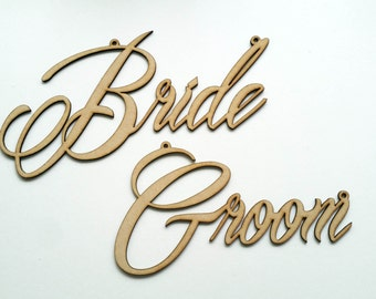 Wedding Bride and Groom Chair Signs Props Hanging Laser Cut Wood