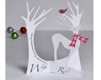 Personalised 3D Paper Cut Christmas Card for a Wife/Husband or loved one!