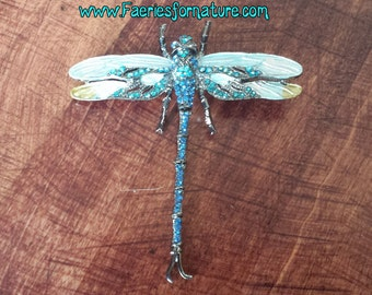 The Gilded Faceted Dragonfly Brooch