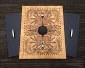 Wood Metal Wall Art Pattern Flourish Knob Handle Hardware Birch Wood