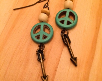 Peace and Arrow Boho Earrings