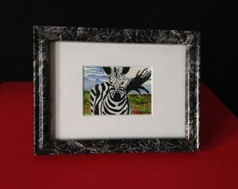 "Original Art., Watercolor ""Zebra"", custom framed miniature painting, Zebra ACEO"
