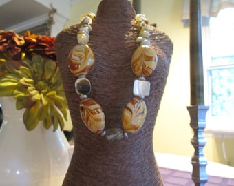 Hand Blown Glass Beads and Mother of Pearl Necklace