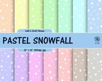 Pastel Snow Digital Papers - 14 soft pastel backgrounds - snowfall background - Holiday papers - Commercial Use - Instant Download