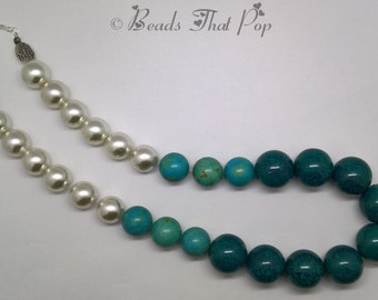 Teal & Turquoise Chunky Necklace with White Acrylic Pearl Accents, Chunky Statement Necklace, Handmade, One-of-a-kind!