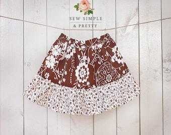 """Ruffle skirt pattern pdf - easy toddler sewing patterns - 12 months to 12 years - """"Sarah Skirt"""""""