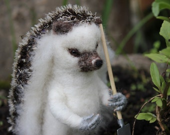 Felted Gardener Hedgehog Needle Felted Animal  Miniature Waldorf Animal Gardening Hedgehog with a shovel.