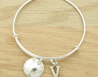 For 90th: 1927 US Dime Coin Bangle Wire Bracelet with optional letter charm for 90th Birthday Gift Coin Jewelry
