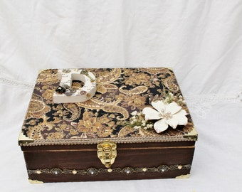 Steampunked, Memory Box, Keepsake, Brown and Gold Memory Box, Mother Day Gift,