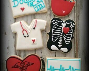 Doctor Cookies - Physician Cookies -  Nurse Cookies - Health Care Cookies - Custom Decorated Cookies