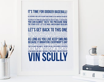 Dodger Baseball - Vin Scully Quotes - Sports Typography - Major League Baseball