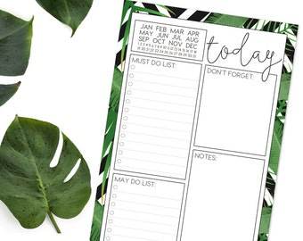 Daily Planner Notepad - PALMS AND PLANS (Black and white chevron with green palm leaves)