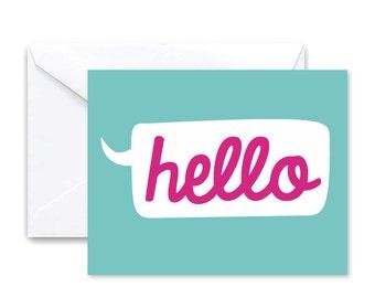 Hello Stationery - Set of 10 Folded Greeting Cards & Envelopes