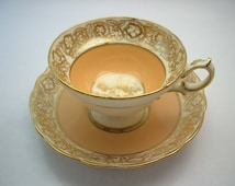 Hammersley Tea Cup and Saucer ,Peach and Gold tea cup and saucer set, English Bone China.