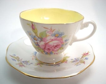 Foley Tea Cup and Saucer, Floral tea cup and saucer set.