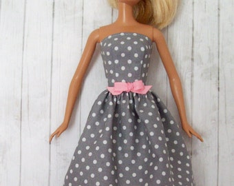 Handmade, Barbie Clothes, Gray and White, Polka Dot, Barbie Dress, Fashion Doll Clothes, Doll Dress, Doll Clothes, Barbie Handmade