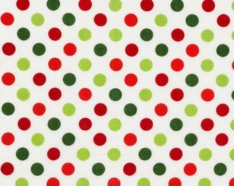 Red and Green Dot on White Fabric - Spot On from Robert Kaufman. Christmas or Holiday. 100% cotton. EZC-12872-223 HOLIDAY