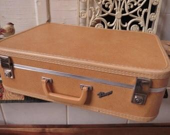 Tan Suitcase Luggage Hard Sided Vintage Suitcase Travelgard Mid Century Home Decor Country Cottage Storage