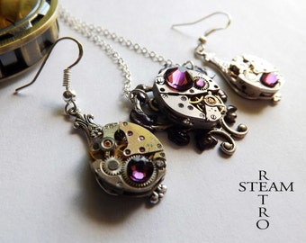 10% off sale17  Purple Heart Steampunk Necklace and earrings - Steampunk Jewelry - Heart Necklace - Steampunk Jewellery Set - Christmas gift
