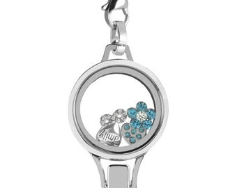 Silver Floating Locket Lanyard Badge Holder with Choice of 6 Charms 1 Plate and Matching Chain (Silver No Stone Circle)