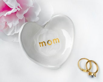 Mom Heart Ring Dish - White & Gold - Ring Holder, Mom birthday, Mother's Birthday Present, Mother's Day Gift, Mother of the Bride Gift