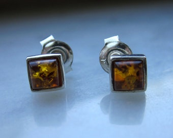 Sterling amber studs silver amber studs 925 amber studs pierced amber stud earrings Baltic amber earrings genuine amber earrings clearance