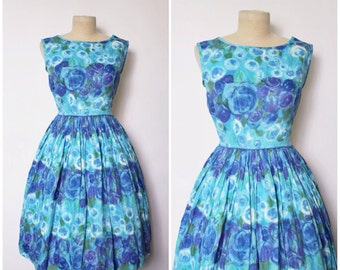 1950s Dress | 1960s Blue Floral Print Dress | Floral Dress | Full Skirt Dress | XS - S