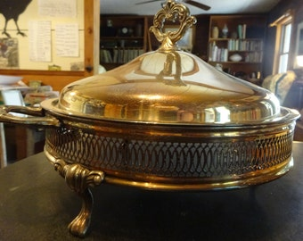 Silver Plate Buffet Stand/ Casserole Holder with Lid, Silver Plate Footed Serving Dish with Lid, Silver Plated Chafing Dish Holder