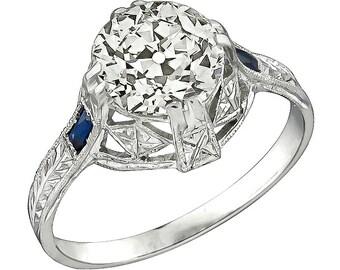 Art Deco 2.30ct Diamond Sapphire Engagement Ring