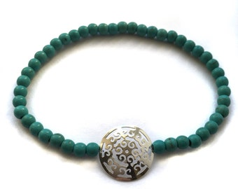 925 Sterling Silver Rosette and Turquoise Calaite Stone Bracelet
