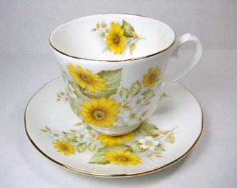 Vintage Duchess Teacup and Saucer - Yellow Floral Duchess Bone China - China Made in England