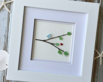 Seaglass Bird in Tree Picture