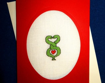 Snakes in love card, love valentines personalized handmade embroidery greeting cross stitch heart custom linen blank greetings