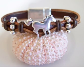 Brown and Tan Leather Horse Focal Bracelet - Item R5993
